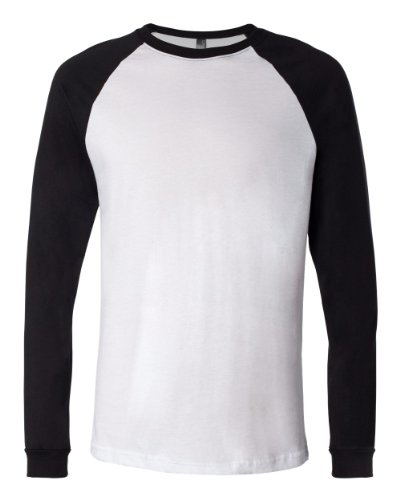 Bella 3000 Mens Jersey Long Sleeve Baseball Tee - White & Black44; Medium