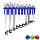 Olsa Tools Magnetic Wrench Holder Organizer (Blue) | Fits SAE 3/8' Thru 15/16' & Metric 10mm Thru 19mm | Professional Grade