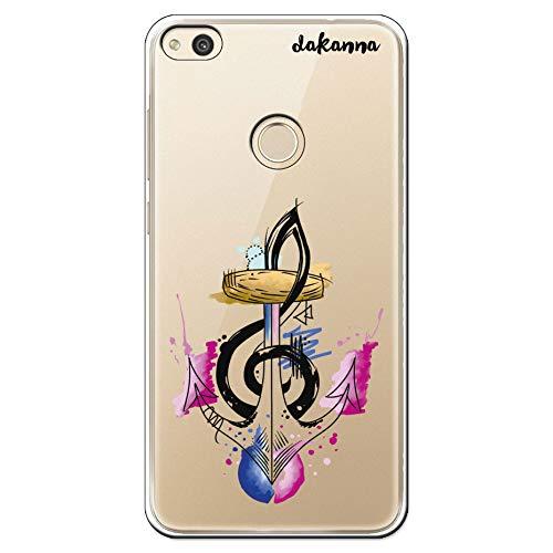 dakanna Custodia per [Huawei P8 Lite 2017] Tattoo Anchor And Musical Note Watercolor, Cover in Gel di Silicone TPU Morbido di Alta qualità con [Sfondo Trasparente]