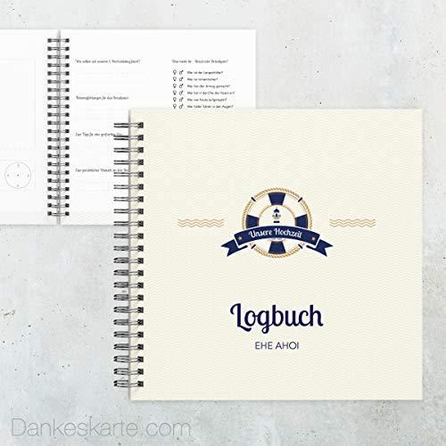 Dankeskarte.com Gästebuch Hochzeit - Hafen der Ehe - 60 Seiten - 21 x 21 cm - mit Fragen/Ankreuzen - alle Seiten farbig Bedruckt - Hochzeitsgeschenk