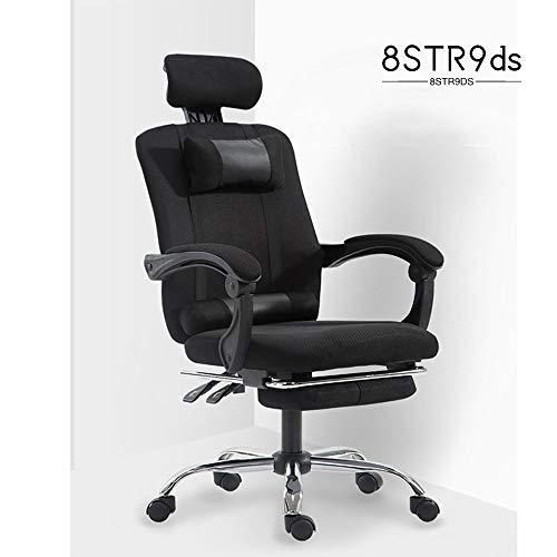 8STR9ds Liegender Bürostuhl hohe Rückenlehne, ergonomischen Computer Lehnstuhl mit verdickte Kopfstütze und Rückenstütze, 90-150 Grad justierbarer Gaming Chair,A,Without footrest