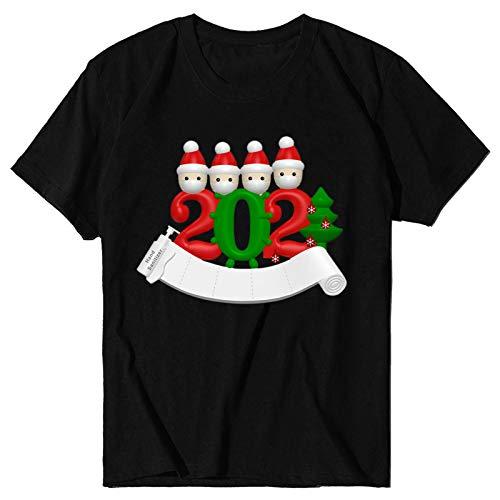 Janly Clearance Sale Camiseta de manga corta para mujer con estampado navideño o cuello redondo para Navidad (Negro-XL)