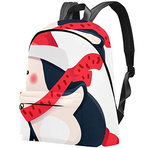 Funny Winter Penguin Skater Woman Backpack Shoulder Bag Daypack for Girls School Bag