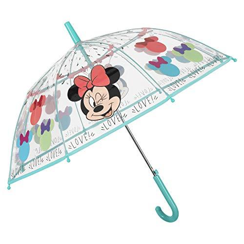 Paraguas Transparente Minnie Mouse Niña - Paraguas Infantil con Forma de Cúpula Resistente Antiviento - Apertura Automática de Seguridad - POE - Pequeñas 4/6 Años - 74 cm Diámetro - PERLETTI (Azul)