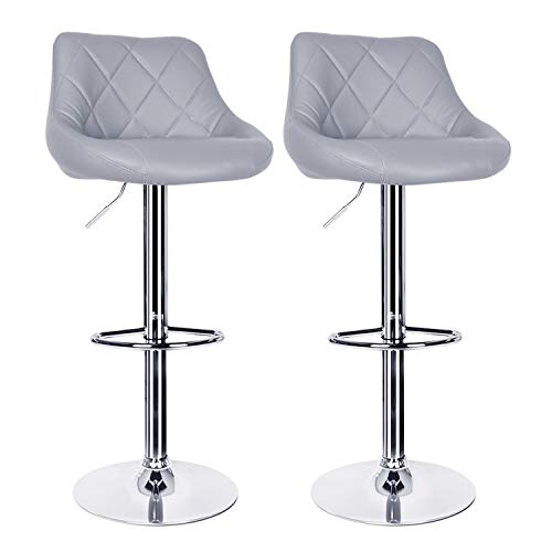 Pair of Grey Bar Stools,Breakfast Bar Stool with Back and Chrome Footrest Swivel Gas Lift Elegant Leather Bar Stool for Kitchen/Breakfast Bar/Counter/Home Furniture
