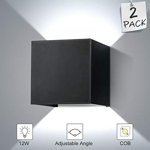 ENCOFT 2 Stück LED Wandleuchte 12W Aussen Innen Schwarz IP67 Wasserdichte 6000K Wandlampe Außenleuchte Wandbeleuchtung Weiß mit Einstellbar Abstrahlwinkel (Kaltweiß)