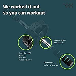 Fit2Live Ab Roller Wheel for Home Gym Workout - Abdominal Exercise Equipment for Core Strength Training and Stomach Tone - Arm and Oblique Workout Options, Fitness Videos Available with Free App