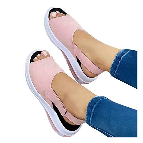 N\C Sandalias para Mujer Plataforma De Cuña Correa con Hebilla Dedos Abiertos Sandalias Señoras Primavera Retro Mocasines De Cabeza Redonda para Mujeres Zapatos De Tacón De Cuña