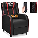 GYMAX Massage Gaming Recliner Chair, Adjustable Racing Style Single Lounge Sofa with Footrest and Massage Function Modern Living Room Recliner PU Leather Home Theater Seating (Red)