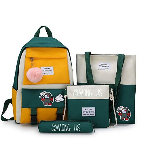 Among Us 4Pcs Backpack for Boys Girls Shoulder Bag Students Reusable Lunch Bags Kids Schoolbag and Pencial Bag Color13
