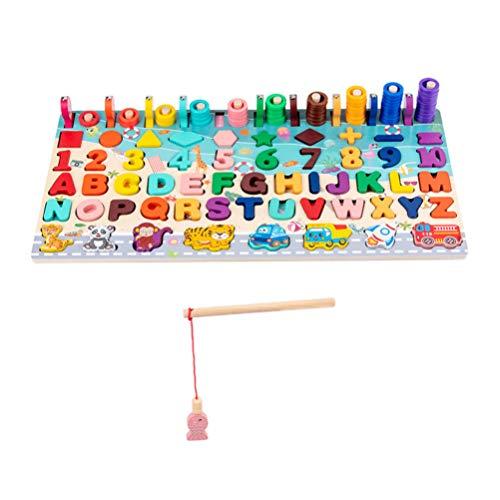 TOYANDONA Magnetisch Houten Visspel Vis Vangen Speelgoed Alfabet Nummer Puzzel Bord Abc Letters Wiskunde Voorschoolse Leren Educatief Speelgoed Voor Kinderen Peuters