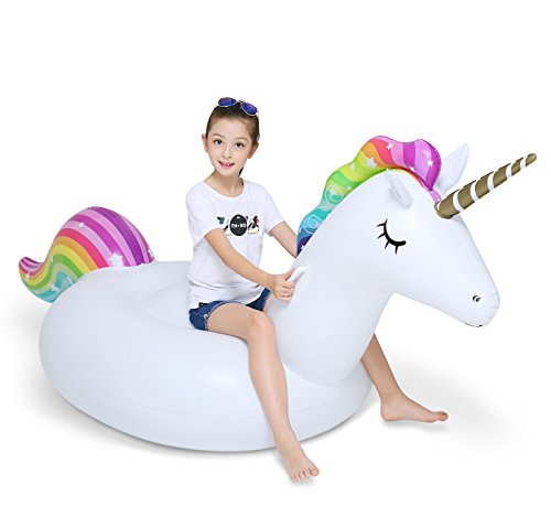 Jasonwell Big Inflatable Unicorn Pool Float Floatie Ride On with Fast Valves Large Rideable Blow Up Summer Beach Swimming Pool Party Lounge Raft Decorations Toys Kids Adults