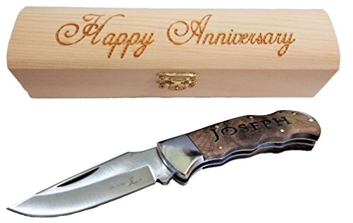 Engraved Pocket Knives With Custom Personalized Wood Box mens anniversary (Gentlemans Knife)