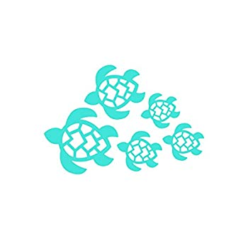 Turtle Family Decal Turtles Swimming Decal | Car Truck Wall Laptop Windows SUV | 7 X 4.8 in | Light Blue | KCD221LBL