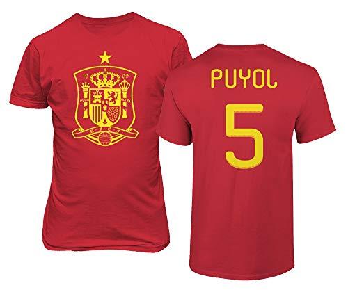 BTA Apparel Neu Neuheit Fußballlegenden #5 Carles PUYOL Trikotstil Herren T-Shirt (Rot, XL)