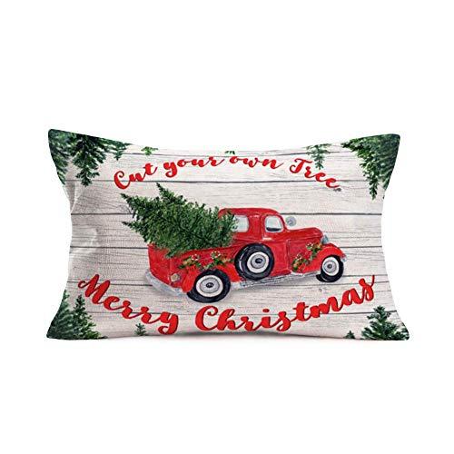 375 Fundas de almohada de madera vintage de Happy Holiday Merry Christmas con diseño de árbol de pino, fundas de almohada decorativas para el hogar, patio, asientos, algodón, lino, 30,5 x 50,8 cm
