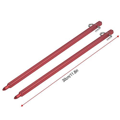 FOLOSAFENAR Clavijas de estaca para toldo, estables para Usar 2 Piezas de estacas de Carpa Aleación de Aluminio Anti-deformación para Exteriores para Acampar(Red)