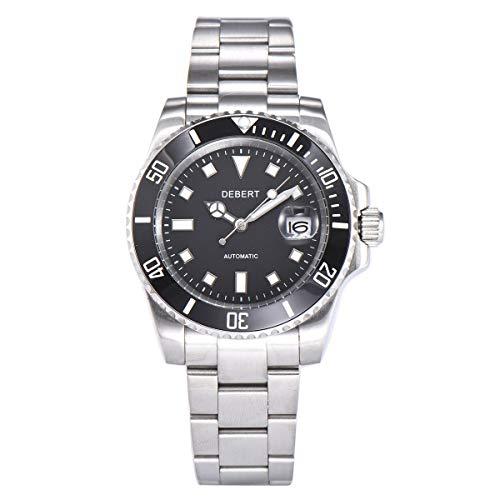 40mm DEBERT Sapphire Glass Luminous Solid Steel Automatic Mechanical Mens Watch