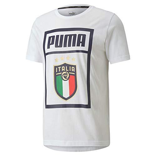PUMA FIGC DNA tee Camiseta, Hombre, Peacoat-Team Gold, L