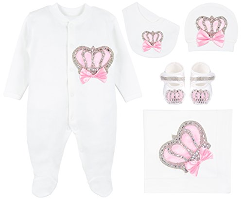 Lilax Baby Girl Newborn Jewels Crown Pink Take Me Home Layette 5 Piece Deluxe Gift Set