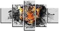 5パネルウォールアート装飾画 モジュラーキャンバス絵画動物チーター絵画絵画ポスター壁画-3