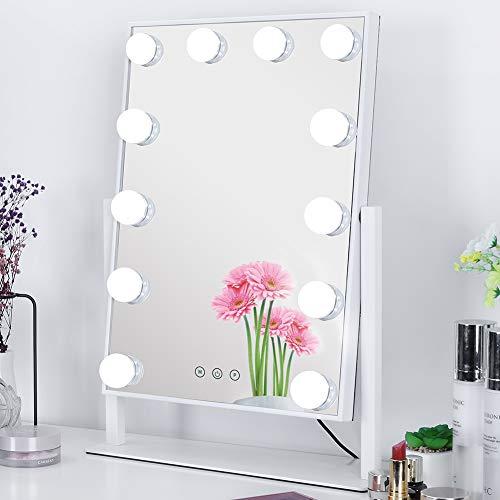 Meidom Spiegel mit Beleuchtung, 360° Drehbar Hollywood Spiegel mit 3 Farbe Licht Umwandlung, 12 Dimmbare LED Schminkspiegel mit Licht - Weiß (L 35.5cm * H 47.5cm)