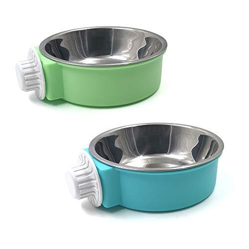 N//A - Ciotola per cani da appendere, in acciaio inox, rimovibile, per animali domestici, per gatti, cuccioli, uccelli, coniglio (verde, blu)