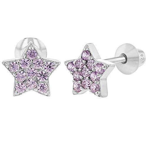 Pendientes de estrella de plata de ley 925 con cierre de rosca, para bebés y niñas pequeñas
