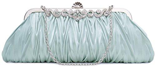 Pulama Romantic Love Bridal Wallet For Wedding Evening Party Bag Purse, Light Ice Blue