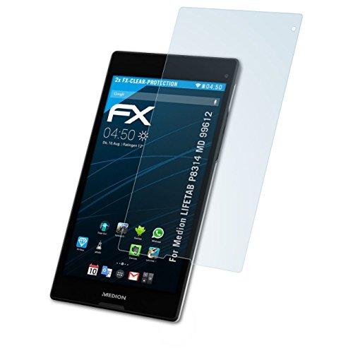 atFolix Schutzfolie kompatibel mit Medion LIFETAB P8314 MD 99612 Folie, ultraklare FX Bildschirmschutzfolie (2X)