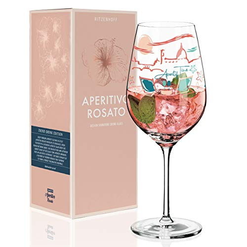 RITZENHOFF Aperitivo Rosato Aperitifglas von Shinobu Ito, aus Kristallglas, 600 ml, mit trendigen Dekoren