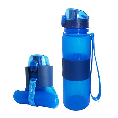 Lowest Prices! MAIBU Collapsible Water Bottle, Foldable Leak Proof Silicone Bottle with Brush-BPA Fr...