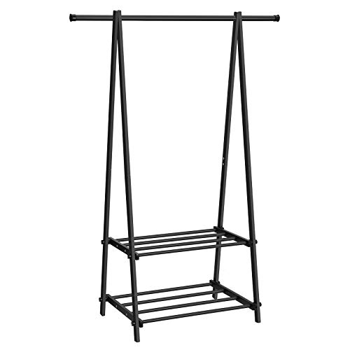 SONGMICS Clothing Garment Rack with 2-Tire Shelf for Shoes Clothes Storage Black