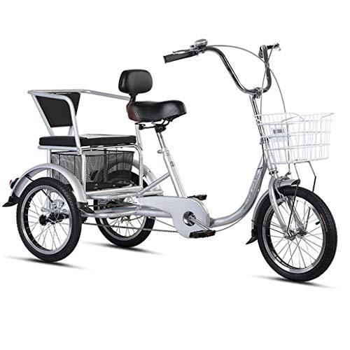 Triciclo per Adulti Triciclo for adulti con cesto, 3 biciclette a 3 ruote da 16 pollici Anziani adulti An Seniors Cruiser Bike, Biciclette a tre ruote for le donne Men Bin Beginner, Sella resistente a