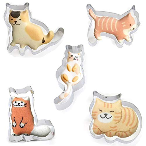 Cookie Cutter Molds Set, 5 pcs Stainless Steel Cute Walking & Sitting Cat Series DIY Cookie Cutting Mold Egg Mold Cartoon Baking Mold, Fondant Tool Pastry Biscuit Cake Baking Egg Cooking Molds
