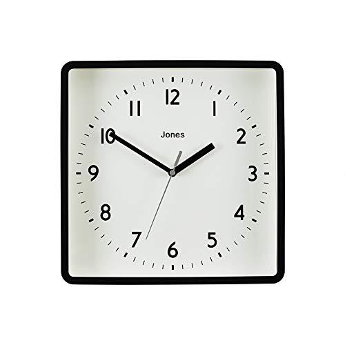 JONES CLOCKS®, Shack, Reloj de Pared Cuadrada Estilo Retro En Negro o Gris con Crema o Azul petróleo Esfera para Cocina, salón/Comedor, hogar u Oficina 25cm (Crema)