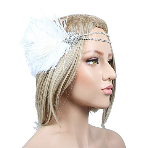 IWILCS 1920s Flapper Feather Hoofdband Grote Gatsby Kostuum Accessoires Vintage Kralen Hoofdstuk, voor Prom Pageant Themed Party, Womens Carnaval Kleding Accessoires, Wit