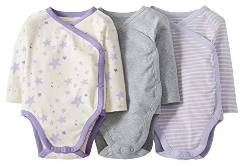 Moon and Back by Hanna Andersson Lot de 3 Bodies à manches longues en coton bio, avec boutons-pression latéraux, pour bébés, violet, 0 mois (45 CM)