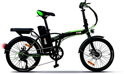 The One, Foldable City Bike Unisex Adulto, Nero-Verde, No Size
