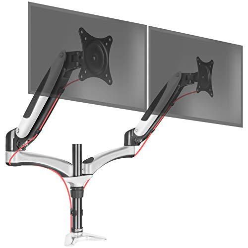 """Duronic DM652 Supporto da scrivania per 2 monitor 15"""" – 27"""" Braccio monitor due braccia estensorie regolazione a gas morsetto tavolo VESA MAX 100 x 100mm struttura acciaio INOX portata 8kg per braccio"""
