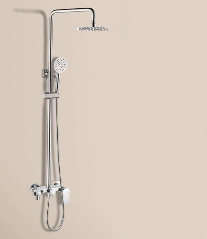 GWFVA Badezimmer-Brausenmischer-Set, Brausegarnitur, Handbrause, Multifunktionsdusche, einfache Dusche, Viergang-Brausenmischer aus Messing, Booster aus Edelstahl, Wandbrause hebend