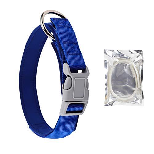 DEWEL Collar Antiparasitos Perro de Nailon 2-in-1 Azul 35-53cm Ajustable, Nylon Collar para Perro Grande Mediano Fluorescente contra Pulgas, Garrapatas y Mosquitos, Tamaño Ajustable