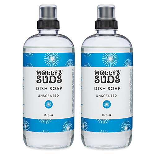 Molly's Suds Natural Liquid Dish Soap, Unscented, 16 oz, 2 Pack
