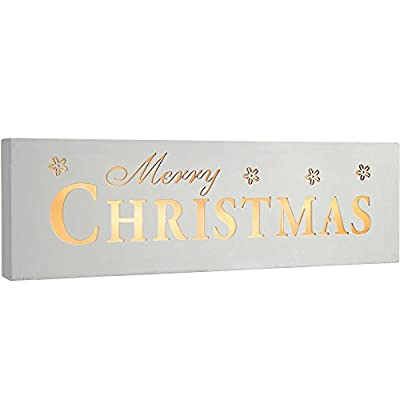 WeRChristmas Pre-Lit LED Merry Christmas Sign Decoration, Wood, 38 cm - White