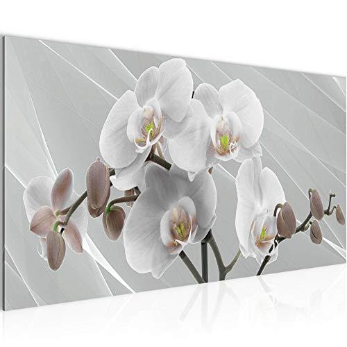 Tabla orquídeas decoración floral de la pared - 100 x 40 cm Vista de impresión en lienzo Salón Apartamento - listo para colgar - 203012c