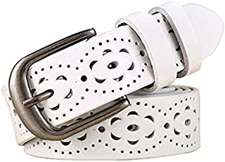 WTYD Outdoor Sports Apparel Accessories Women Genuine Leather Belt Floral Carved Cow Skin Belts for Jeans, Belt Length:115cm(Black) (Color : White)
