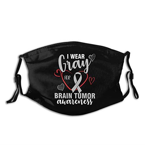 I Wear Gray For Brain Tumor Awareness Face Mask Reusable Washable Scarf Anti Dust Bandanas for Women Men with 2 Filter