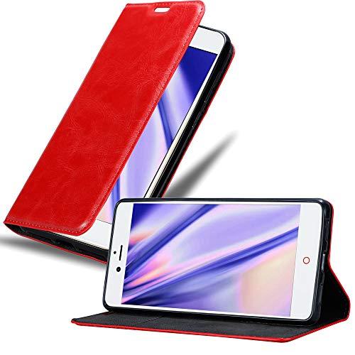Cadorabo Hülle für ZTE Nubia Z11 in Apfel ROT - Handyhülle mit Magnetverschluss, Standfunktion & Kartenfach - Case Cover Schutzhülle Etui Tasche Book Klapp Style