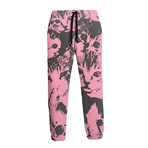 AEMAPE Pantalones Deportivos con Bolsillos Rojos y Grises Camo Cat Men 'S Pantalones Deportivos con Bolsillos