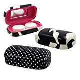 MyEyeglassCase 3 X Contact lens case, A Stylish Travel contact lens case with a mirror | Cute contact lens case in various pattern | A Hard contact case for storage (AS411 Zebra & SD)